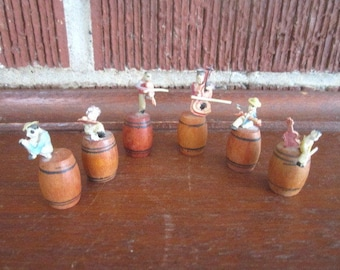Vintage Miniature Japanese Celluloid Band Set of 6 Musicians on Barrels