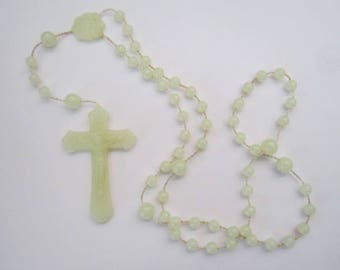 Vintage Light as Air Rosary with Pale Yellow Plastic Beads