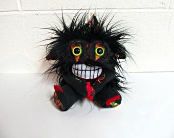 Monster Plush - Handmade Plush Monster - Black Faux Fur -  Hand Embroidered Soft Toy  - Soft Monster Toy - Toothy Smile Monster - Crazy
