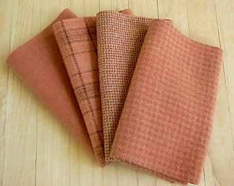 """Hand Dyed Wool Felt, SANDALWOOD, Four 6.5"""" x 16"""" pieces in Soft Rusty Brown, Perfect for Rug Hooking, Applique' and Crafting"""