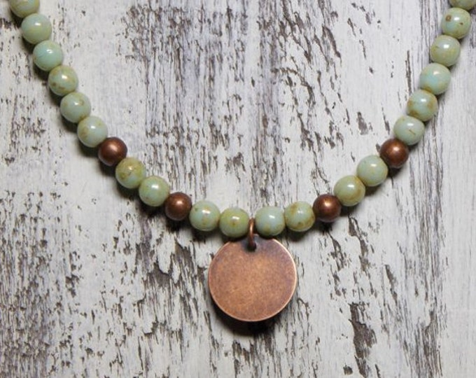 Copper Charm Choker Necklace Czech Glass Beaded Necklace Copper Coin Green Beaded Boho Woodland Rustic Picasso Jewelry