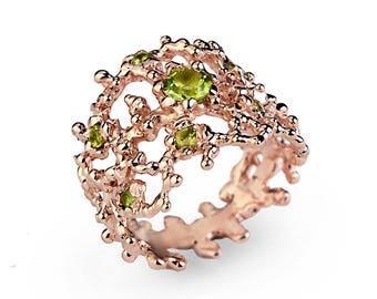 CORAL Rose Gold Peridot Ring, 14k Rose Gold Peridot Band, Peridot Ring Gold, Wide Rose Gold Ring, Peidot Wedding Band, Unique Wedding Band