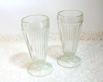 Vintage Ice Cream Soda Glasses, Set of Two Soda Fountain Glasses