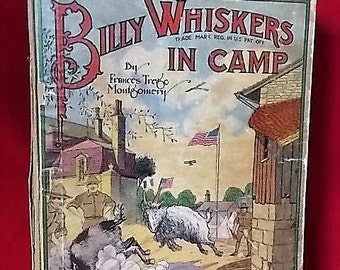 1918 Billy Whiskers in Camp Color Ill. Fitgerald  Goat Goes to War Child's Book