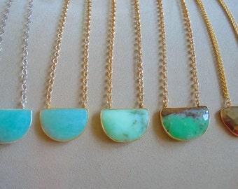 Aquamarine, Chrysoprase, Pyrite Gemstone Necklace - You Choose Stone