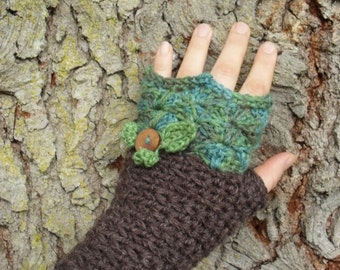 Pixie Mitts OOAK fingerless mitts in handpainted Green Brown Hemp, wool, Reclaimed Wood Button Leaf Detail Ready to Ship