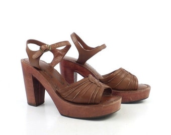 Leather Wooden Sandals Vintage 1970s Wood Platform Brown Chandlers Women's size 5 B