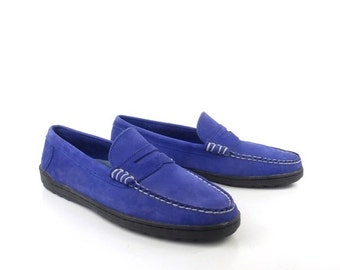 Keds Shoes Loafers Vintage 1980s Moccasins Blue Leather Women's size 9