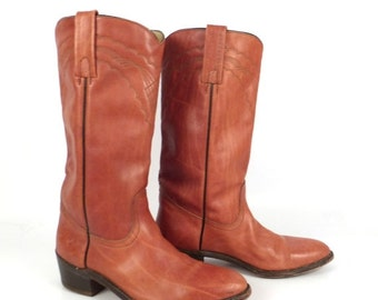 Frye Campus Boots Vintage 1980s Whiskey Brown Square Toe Cowboy Leather Men's 10 1/2