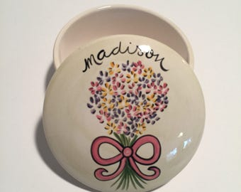 hand painted personalized ceramic box for bridesmaids and flower girls