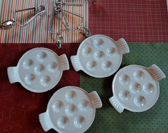 Vintage Le Creuset Enameled Cast Iron Escargot Set Red and White with 4 Tongs Included
