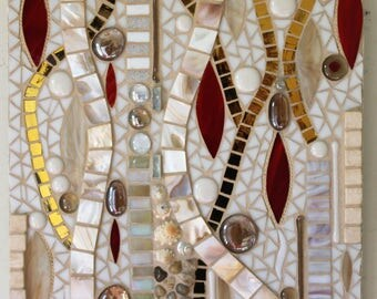 Stained Glass, Mosaic, Fused Glass, Abstract, Gold, White, Red, Mother of Pearl, Calming