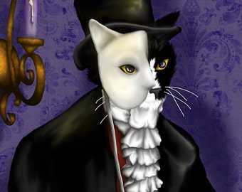 ON SALE Phantom of the Opera Tuxedo Cat 5x7 Fine Art Print