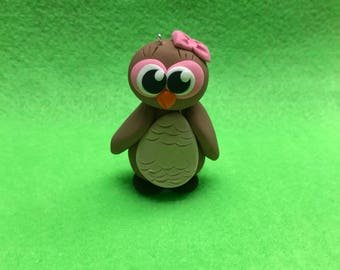 Polymer clay owl ornament