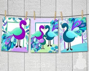 Set of 3 Purple Teal Peacock Girl's ART PRINTS 3AP053
