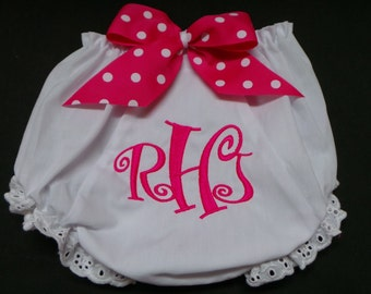 Baby Bloomers Diaper Covers Name or Monogram with bows. Sew Cute. You choose your colors.