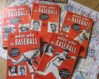 Five Vintage Who is Who in Baseball Black and White Stat Books 1973 through 1977
