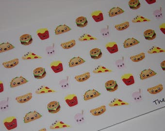 72 Fast Food Stickers / Pizza Stickers / Food Stickers / Burgers and Fries / Stickers great to use in your Erin Condren Planner