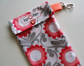 Coral & Gray Floral Epi Pen Carrier with Clear Pocket and Swivel Clip Holds up to 2 Allergy Injectors, Medical ID Card
