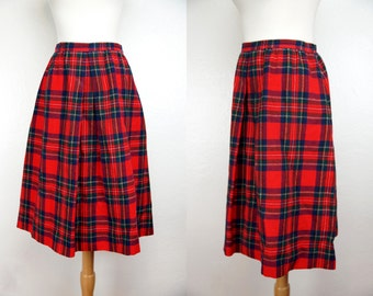 1970s Pendleton Red Plaid Wool Skirt Calf Length Large Plus Size Fitted Business Office