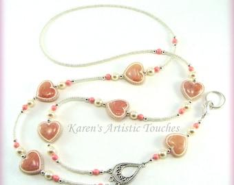 NEW!! LANYARD ID Badge Holder Pink Hearts Pearls, Necklace, Custom Badge Holders, Neck Strap, breakaway