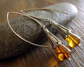 "Ancient Amber Teardrops and Intricately Detailed Sterling Silver Bohemian Earrings ""Heliades Tears"""