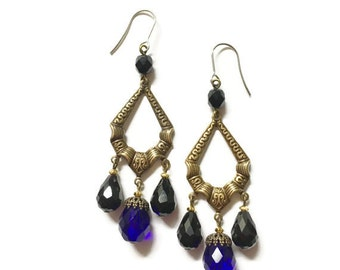 Gothic Vintage Style Brass and Blue Glass Chandelier Earrings