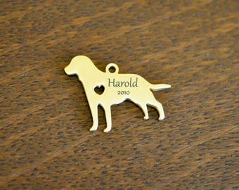 Stainless Steel  Gold Plated Custom Laser Engraved Retriever Stainless Steel Dog Charm CC293