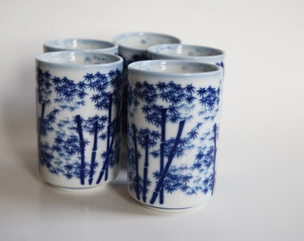 Vintage Classic Sake Cups, Japan, Blue and White