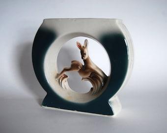 Vintage Deer Art Deco Stye Pottery Vase