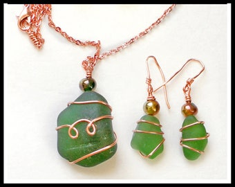Green Sea Glass and Copper Pendant and Earrings