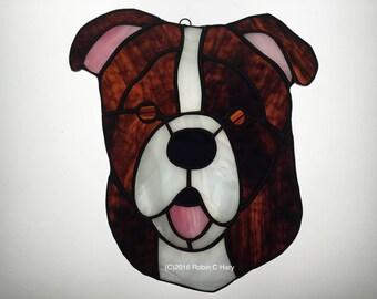 Bull Dog Suncatcher in Stained Glass