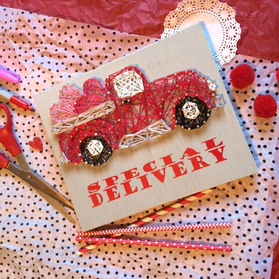 Special Delivery Vintage Truck Valentine String Art Wall or Table Decor