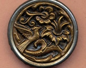 SALE Antique Brass Metal Picture Button - 1 3/8  Inch Diameter - Bird and flowers