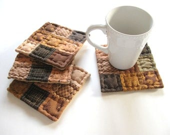 Fabric Coasters Quilted Mug Mats Quilted Coasters Rustic Home Decor Drink Coaster Country Home Decor Primitive Country Decor Farmhouse Decor