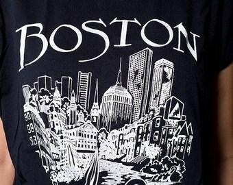 30% off SPRING SALE The Vintage 50/50 Black Boston Massachussetts TShirt