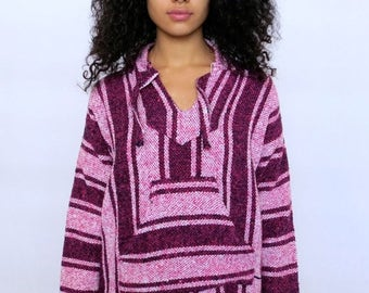 35% OFF SPRING SALE The Pink Surfer Striped Hoodie Poncho Medium Large