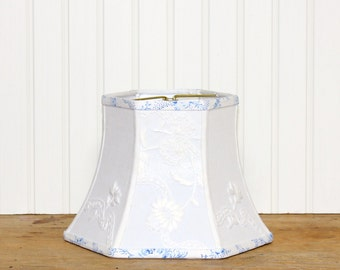 White Embroidered Lamp Shade - Floral Lamp Shade - Vintage Fabric - Cottage Decor - Blue and White - Shabby Chic - Beach - Clip On