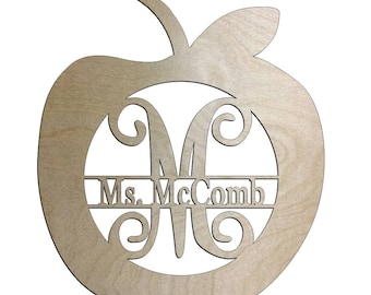 Unfinished Wood Apple Vine Monogram 17.5 inch tall