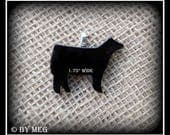 Black Glass Angus Show Steer Pendant, Cattle Jewelry Small Approx 1.75""