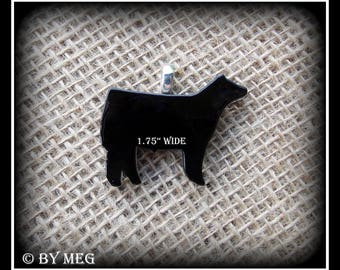 """Black Glass Angus Show Steer Pendant, Cattle Jewelry Small Approx 1.75"""""""