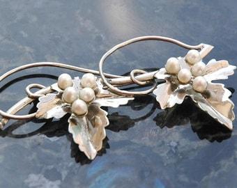 Vintage Brooch, Bridal?, Sterling, Cultured Pearl, Grape Leaves, Large Art Nouveau Loop & Swoop Design, Like New