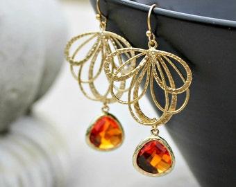 Gold Chandelier Earrings, Orange Jewel, Bohemian, Wedding, Boho Jewelry