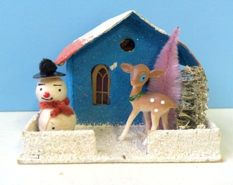 Vintage Inspired Christmas Putz House, Blue with Snowman and Deer
