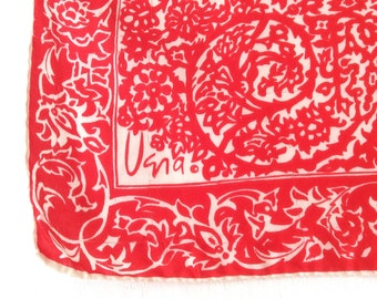 Long Vera Silk Scarf Valentine Red and White