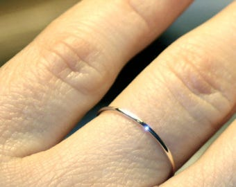 Thin wedding band, White gold band, In Stock - Sizes: 9, 9.25, 10.25 & 10.5 - Ready to Ship - solid 14k 1mm thin stacking ring