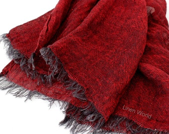 Dark Red Linen Scarf for men women   Burgundy Red Natural Pure Linen Scarf - Organic Flax   Birthday Gift idea for him / her #EtsyGifts