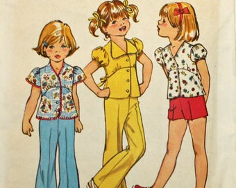 1970s, Vintage Sewing Pattern, Simplicity 6419, Bell Bottom Pants, Shorts and Top, Child Size 2, Girls Size 2, Vintage Pattern