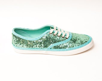 Tiny Sequin | Starlight CVO Mint Green Canvas Sneaker Tennis Plimsoll Shoes