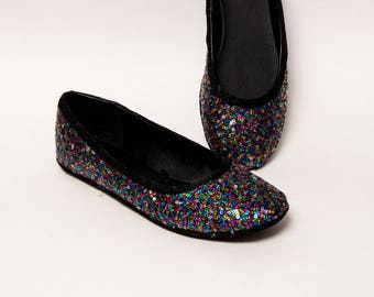 Sequin - Rainbow Speckle Spec Ballet Flats Slippers Shoes